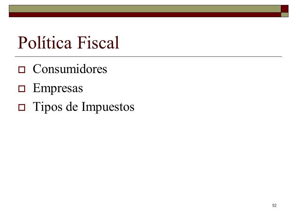 Política Fiscal Consumidores Empresas Tipos de Impuestos 92