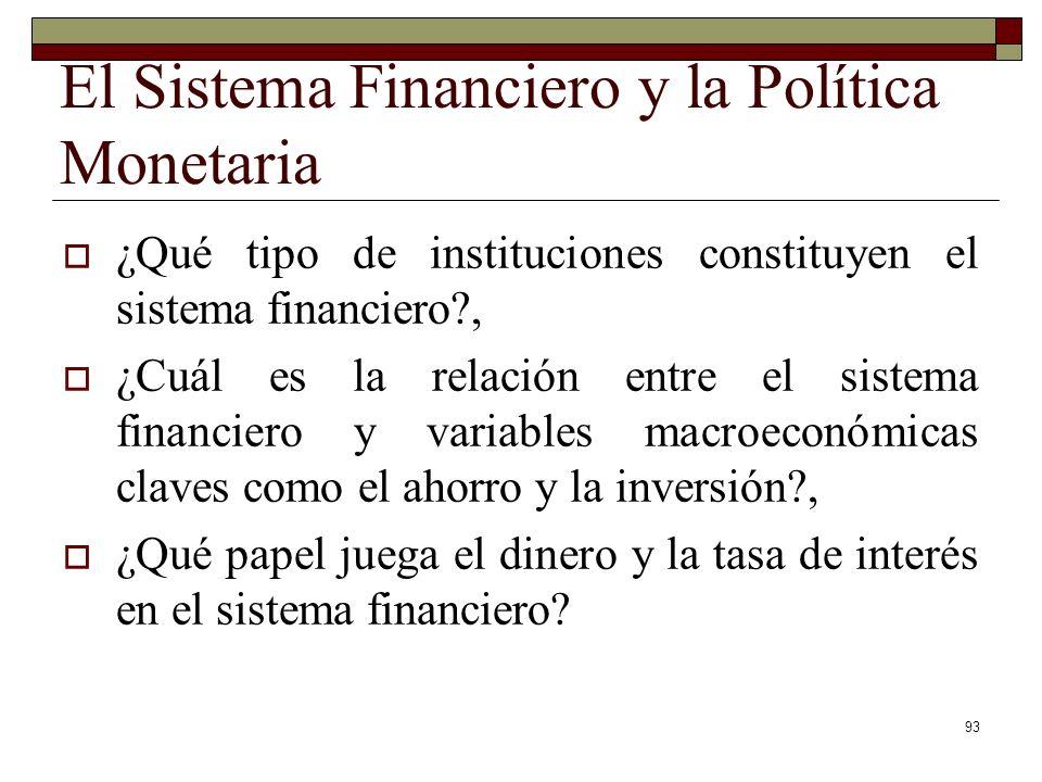El Sistema Financiero y la Política Monetaria