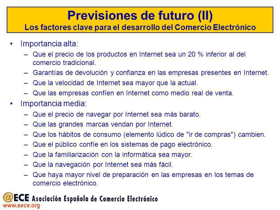 Previsiones de futuro (II) Los factores clave para el desarrollo del Comercio Electrónico