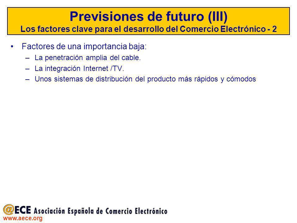 Previsiones de futuro (III) Los factores clave para el desarrollo del Comercio Electrónico - 2