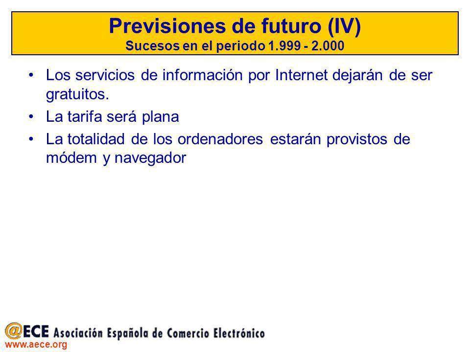 Previsiones de futuro (IV) Sucesos en el periodo 1.999 - 2.000
