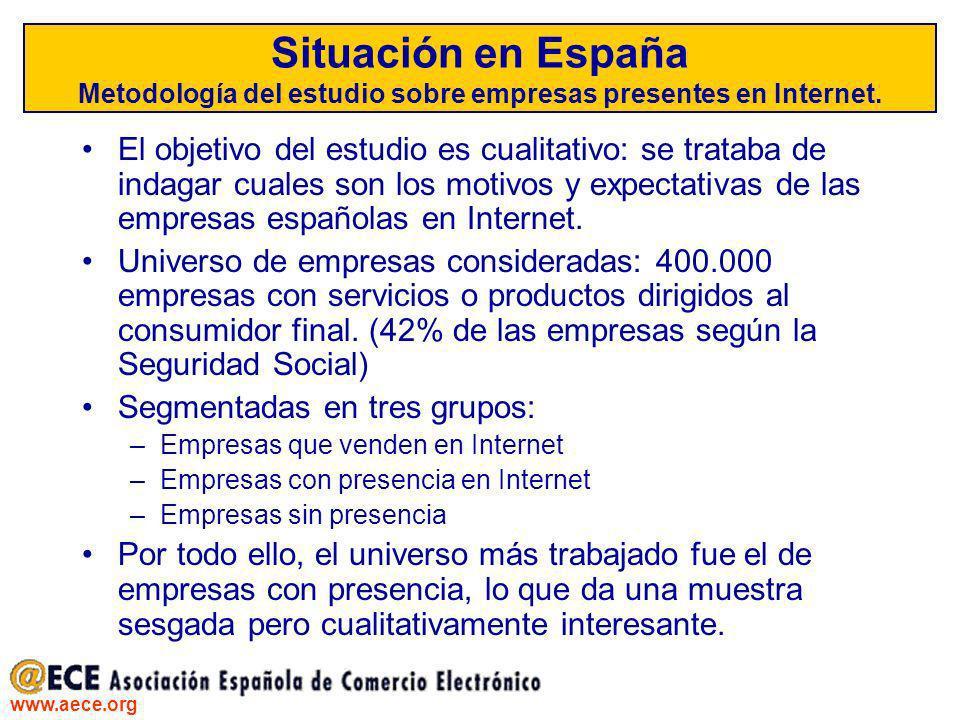 Situación en España Metodología del estudio sobre empresas presentes en Internet.