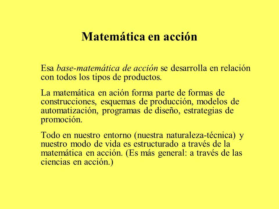 Matemática en acción Esa base-matemática de acción se desarrolla en relación con todos los tipos de productos.