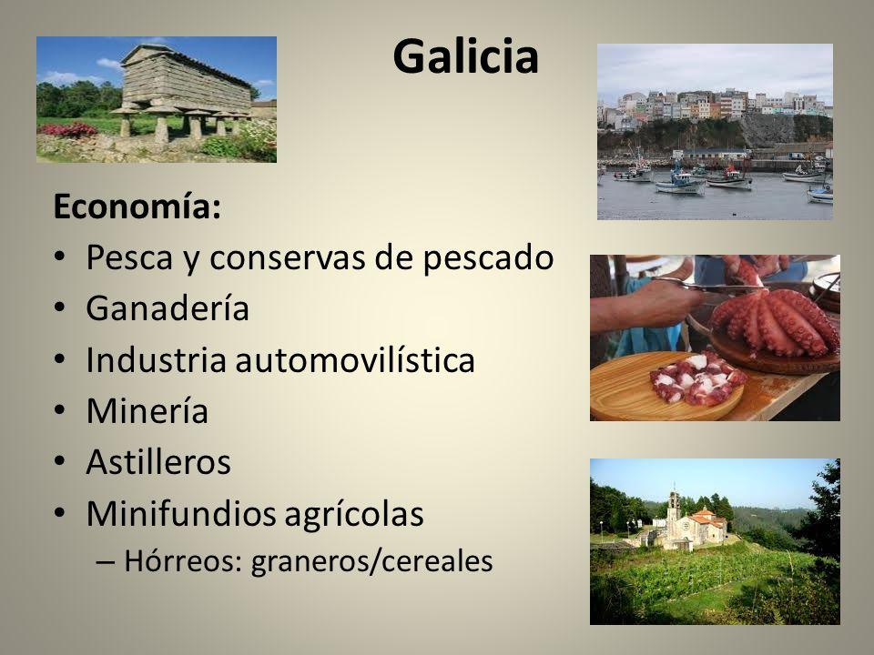 Galicia Economía: Pesca y conservas de pescado Ganadería