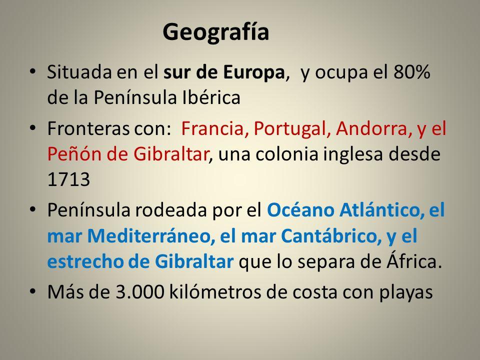 Geografía Situada en el sur de Europa, y ocupa el 80% de la Península Ibérica.