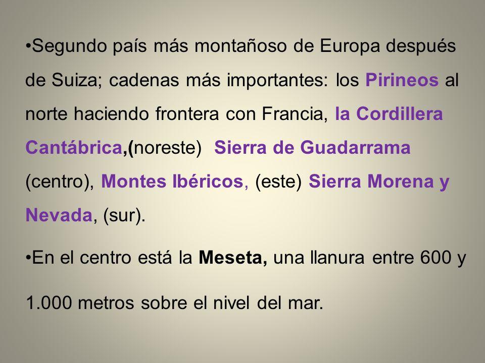 Segundo país más montañoso de Europa después de Suiza; cadenas más importantes: los Pirineos al norte haciendo frontera con Francia, la Cordillera Cantábrica,(noreste) Sierra de Guadarrama (centro), Montes Ibéricos, (este) Sierra Morena y Nevada, (sur).