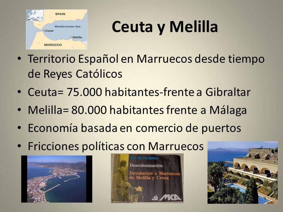Ceuta y Melilla Territorio Español en Marruecos desde tiempo de Reyes Católicos. Ceuta= 75.000 habitantes-frente a Gibraltar.