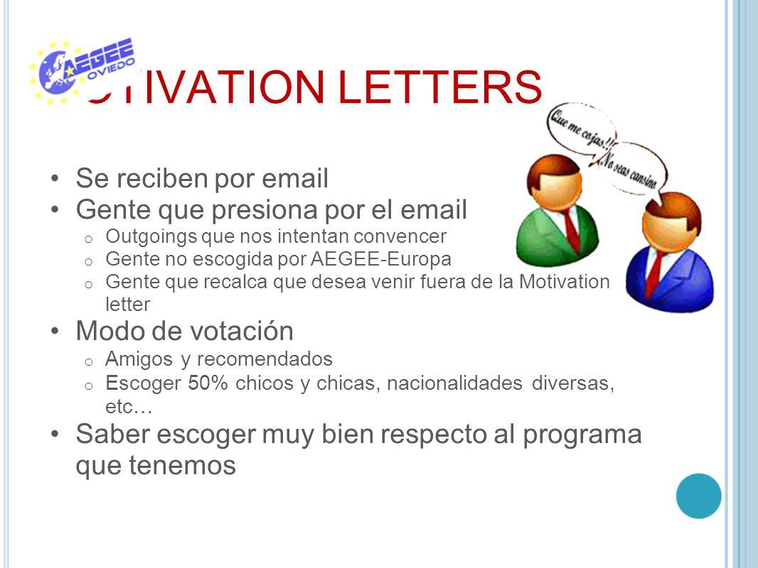 MOTIVATION LETTERS Se reciben por email