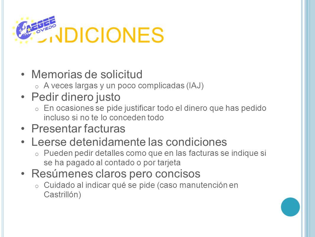 CONDICIONES Memorias de solicitud Pedir dinero justo
