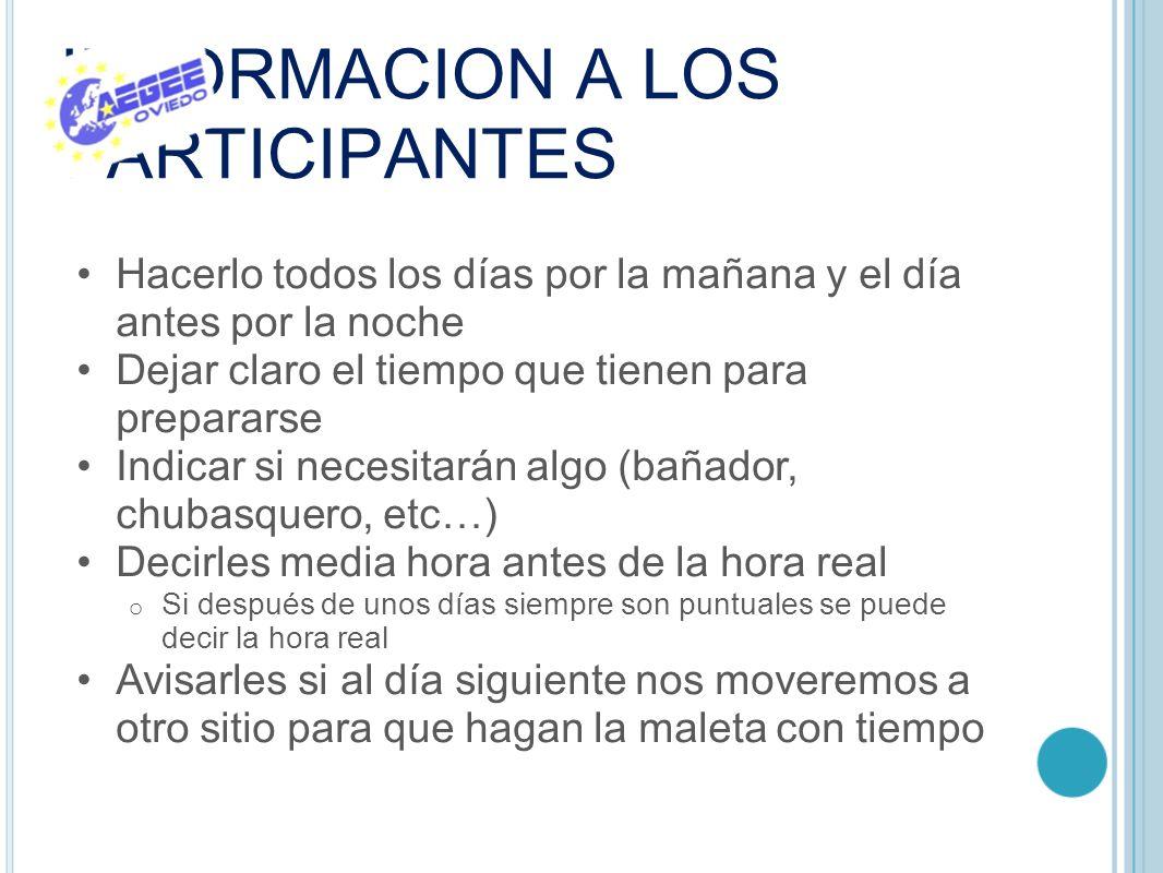 INFORMACION A LOS PARTICIPANTES