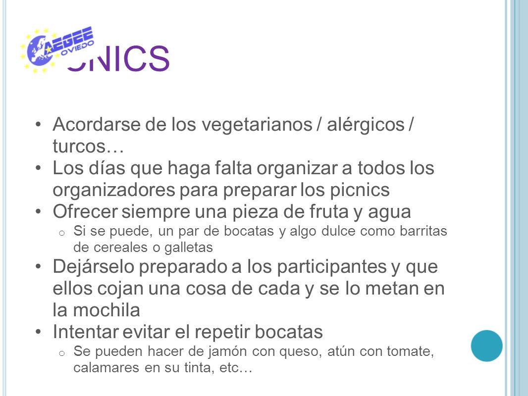 PICNICS Acordarse de los vegetarianos / alérgicos / turcos…