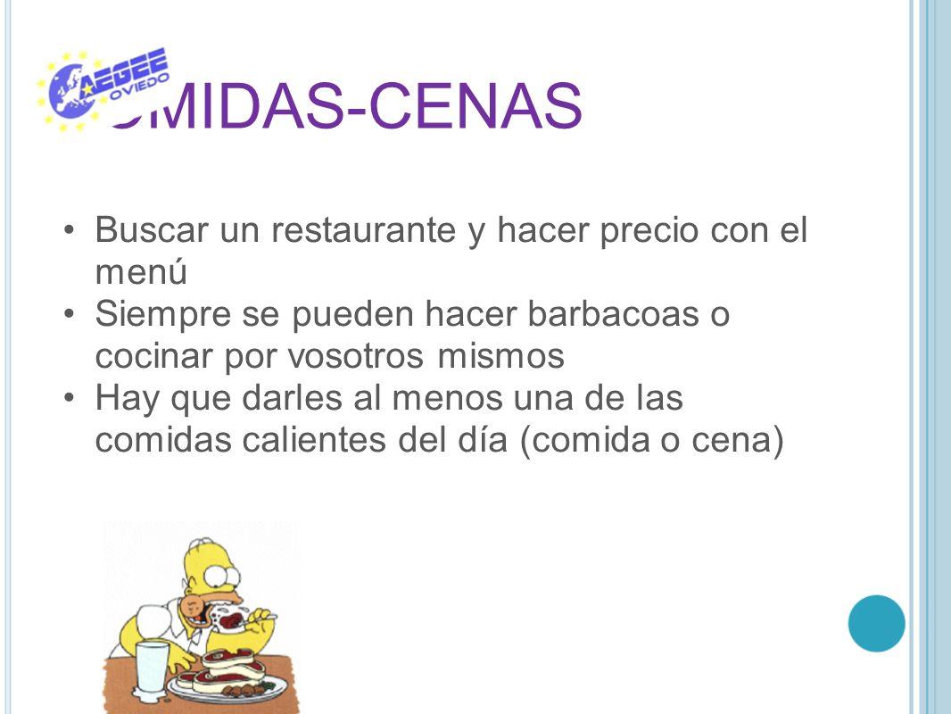 COMIDAS-CENAS Buscar un restaurante y hacer precio con el menú