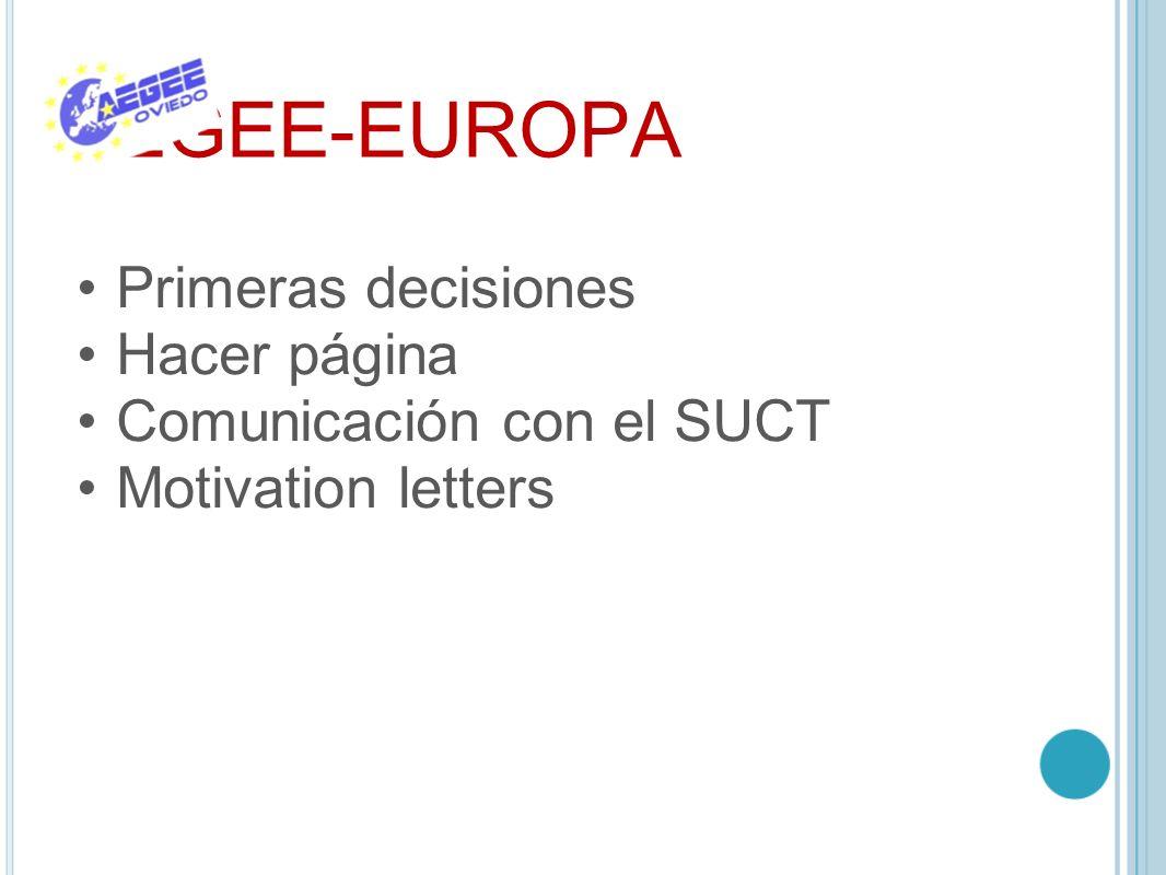 AEGEE-EUROPA Primeras decisiones Hacer página Comunicación con el SUCT