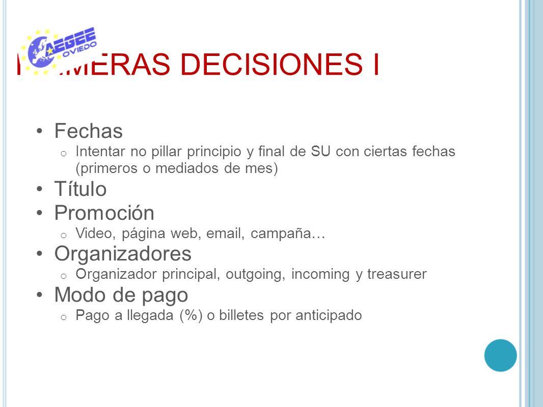 PRIMERAS DECISIONES I Fechas Título Promoción Organizadores