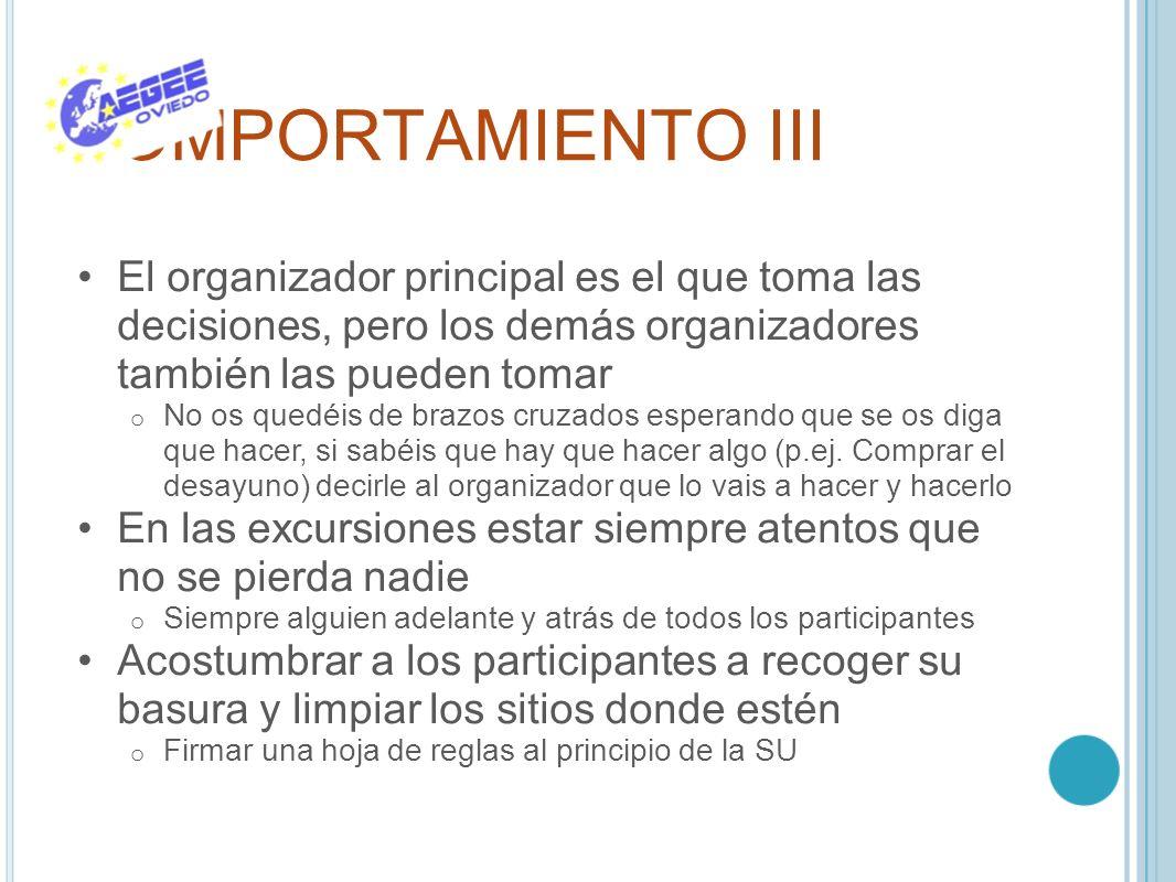 COMPORTAMIENTO III El organizador principal es el que toma las decisiones, pero los demás organizadores también las pueden tomar.