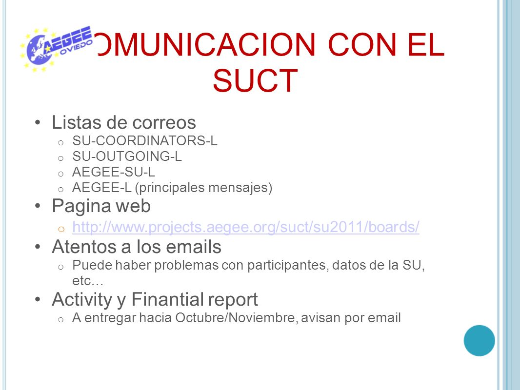 COMUNICACION CON EL SUCT