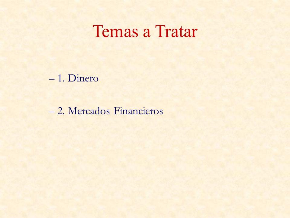 Temas a Tratar 1. Dinero 2. Mercados Financieros