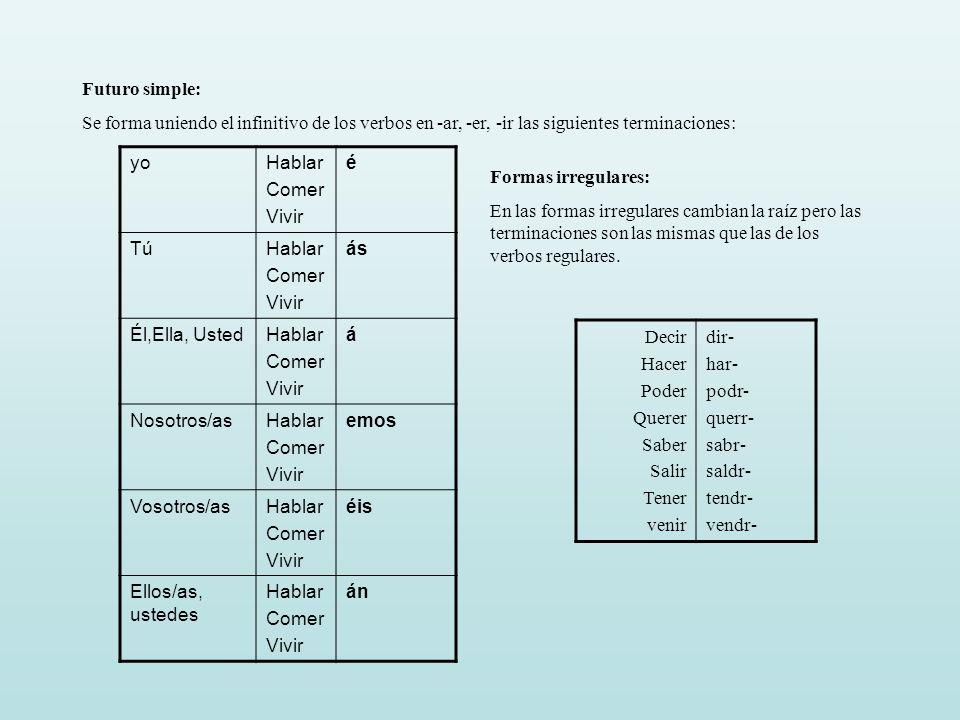 Futuro simple: Se forma uniendo el infinitivo de los verbos en -ar, -er, -ir las siguientes terminaciones: