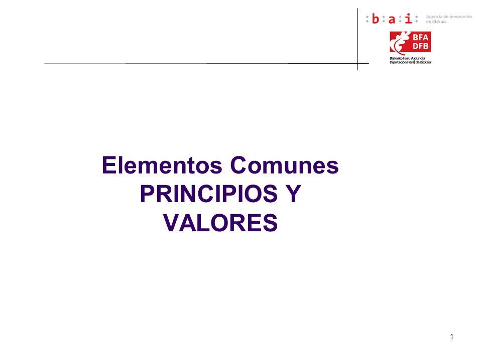 Elementos Comunes PRINCIPIOS Y VALORES