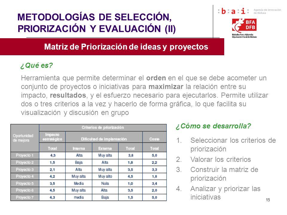 METODOLOGÍAS DE SELECCIÓN, PRIORIZACIÓN Y EVALUACIÓN (II)