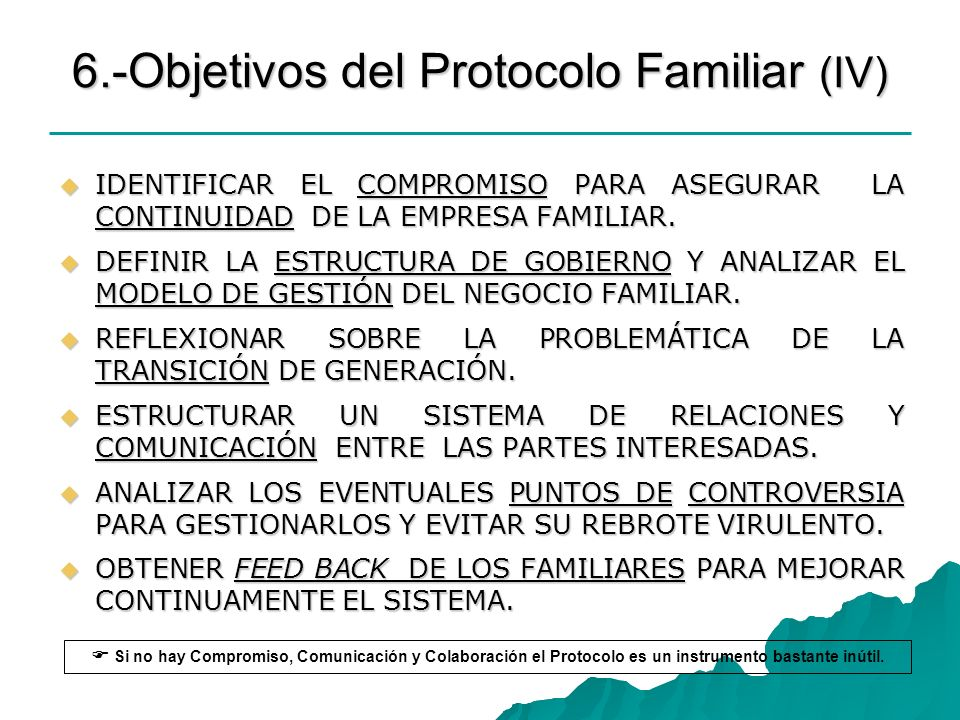 6.-Objetivos del Protocolo Familiar (IV)