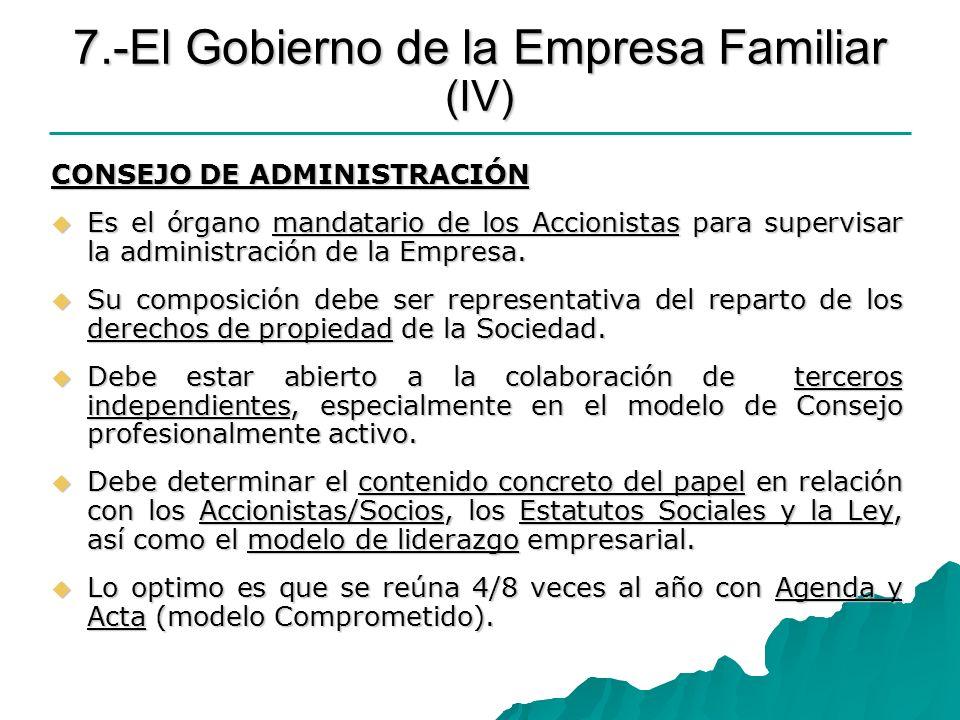 7.-El Gobierno de la Empresa Familiar (IV)