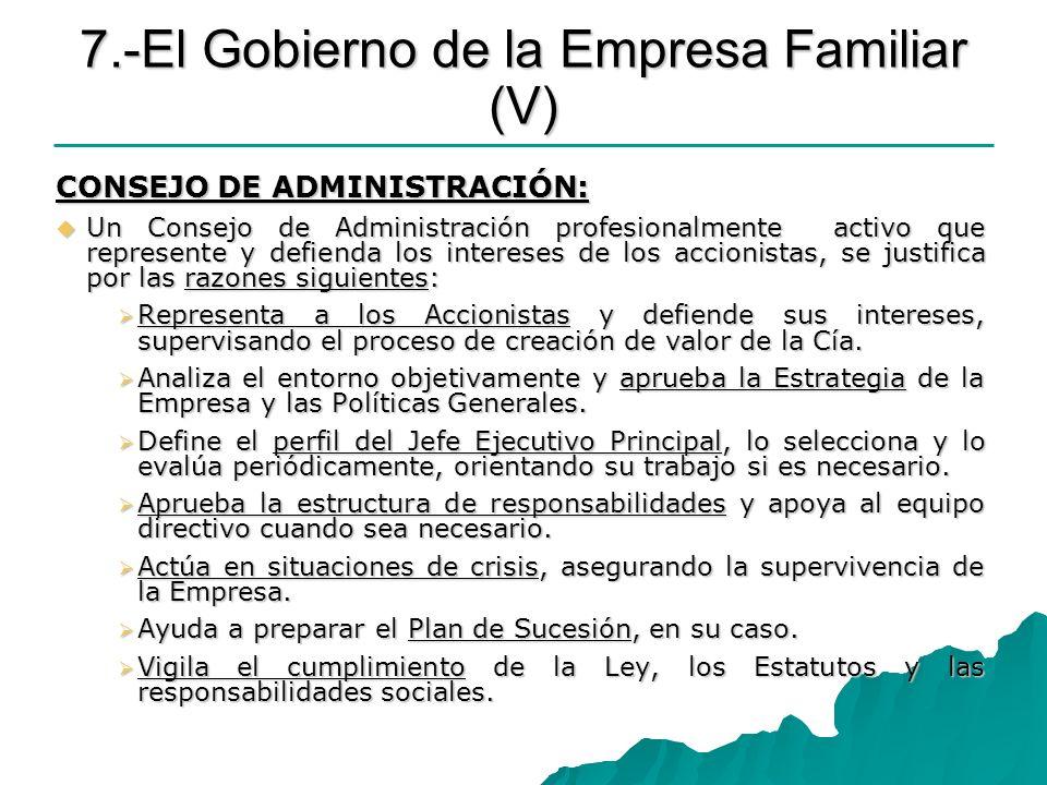 7.-El Gobierno de la Empresa Familiar (V)