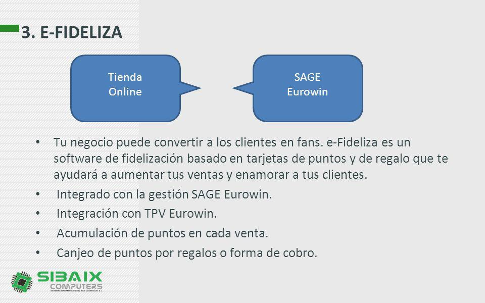 3. E-FIDELIZA Tienda. Online. SAGE. Eurowin.