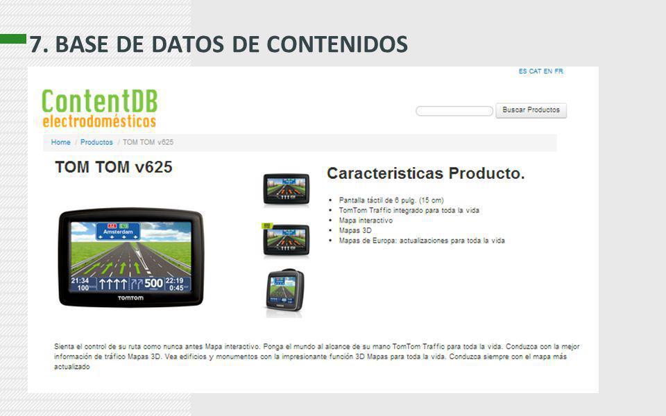 7. BASE DE DATOS DE CONTENIDOS