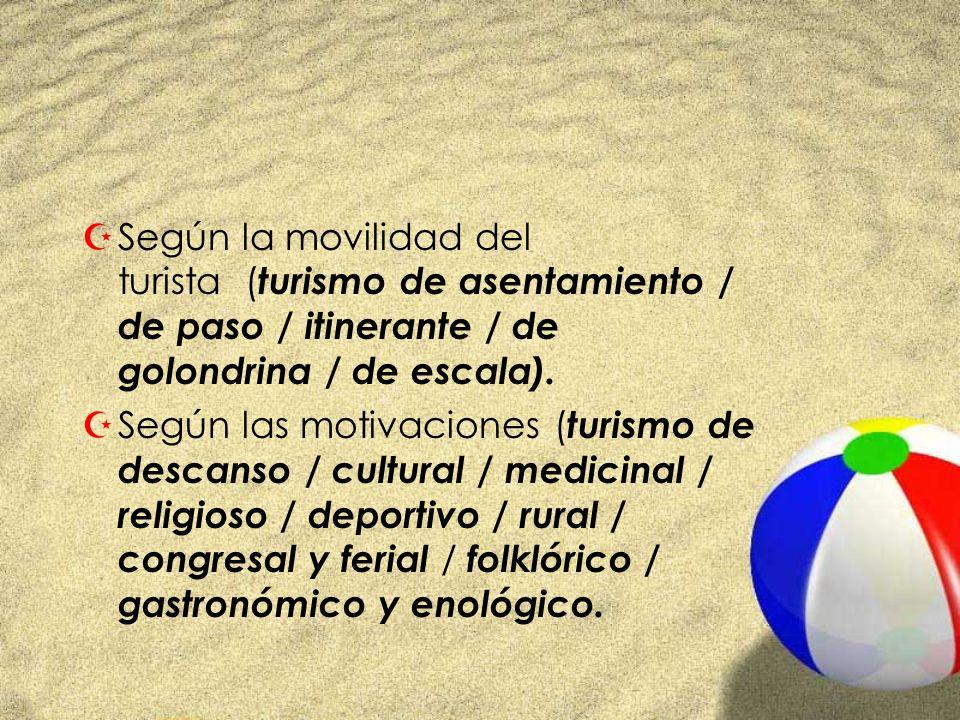 Según la movilidad del turista (turismo de asentamiento / de paso / itinerante / de golondrina / de escala).
