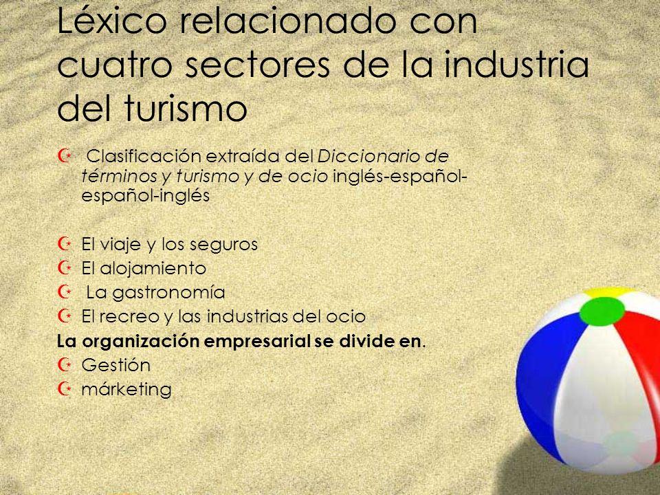 Léxico relacionado con cuatro sectores de la industria del turismo