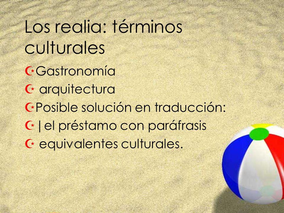 Los realia: términos culturales