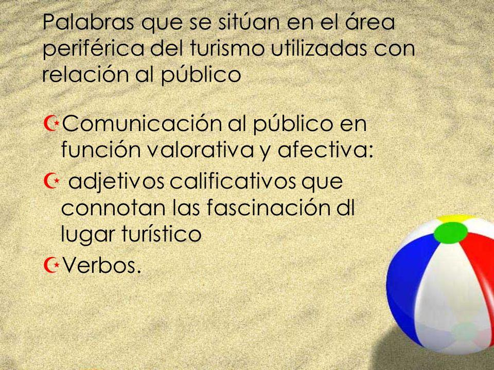 Palabras que se sitúan en el área periférica del turismo utilizadas con relación al público