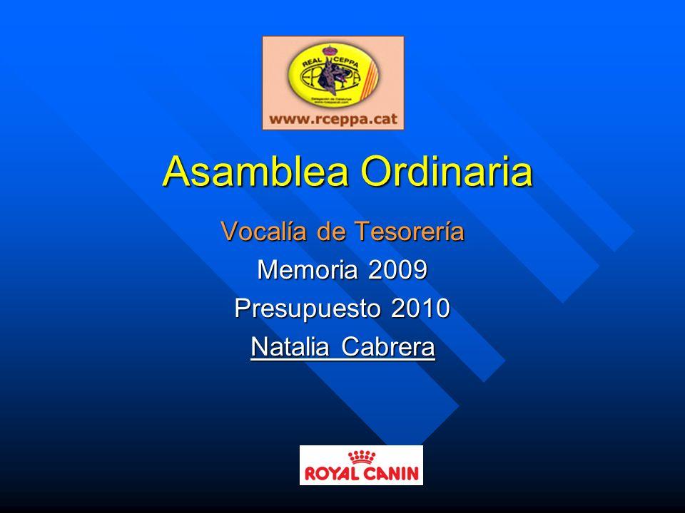 Vocalía de Tesorería Memoria 2009 Presupuesto 2010 Natalia Cabrera