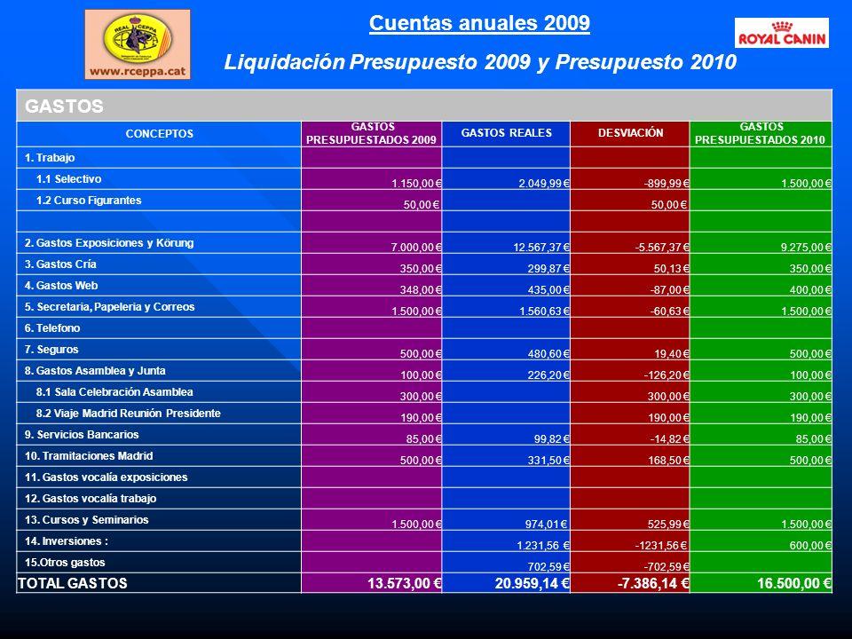 Cuentas anuales 2009 Liquidación Presupuesto 2009 y Presupuesto 2010