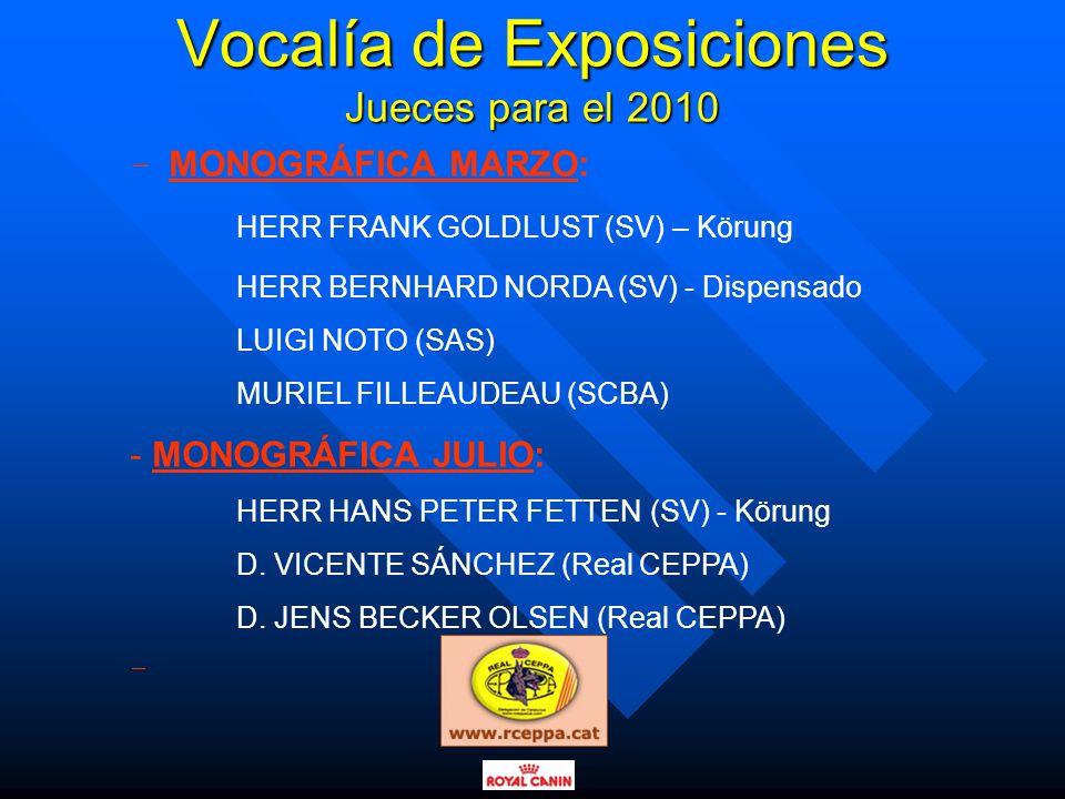 Vocalía de Exposiciones Jueces para el 2010