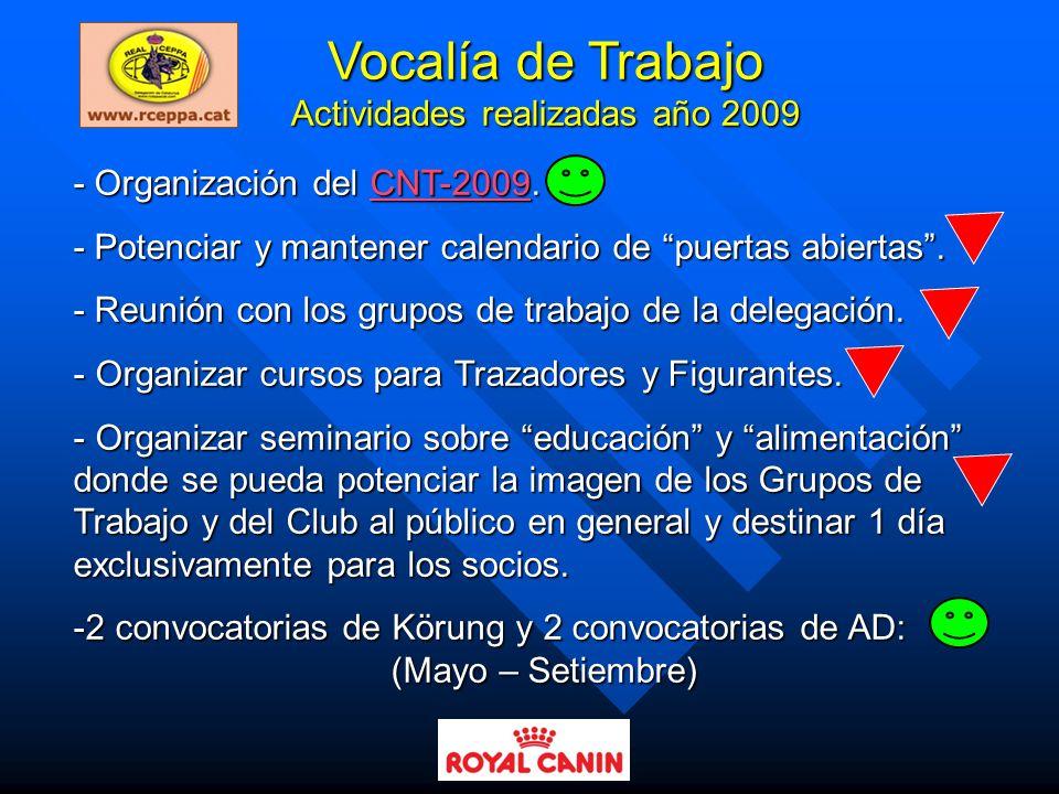 Vocalía de Trabajo Actividades realizadas año 2009