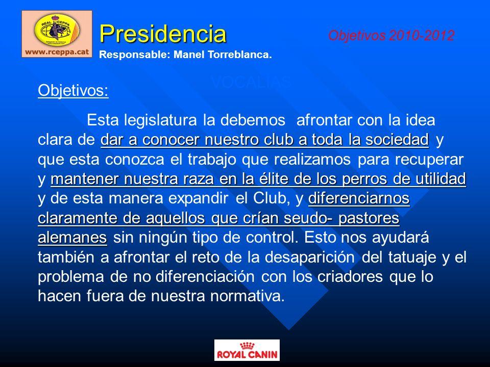 Presidencia VOCALÍAS Objetivos: