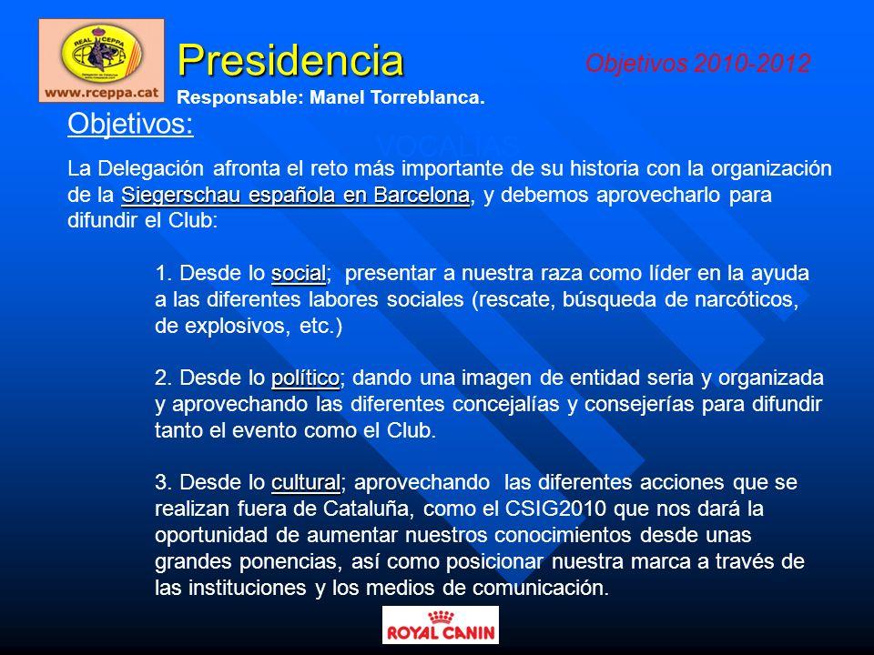 Presidencia Objetivos: VOCALÍAS Objetivos 2010-2012