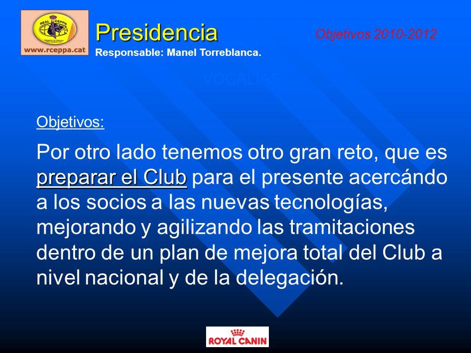 Presidencia Objetivos 2010-2012. Responsable: Manel Torreblanca. VOCALÍAS. Objetivos: