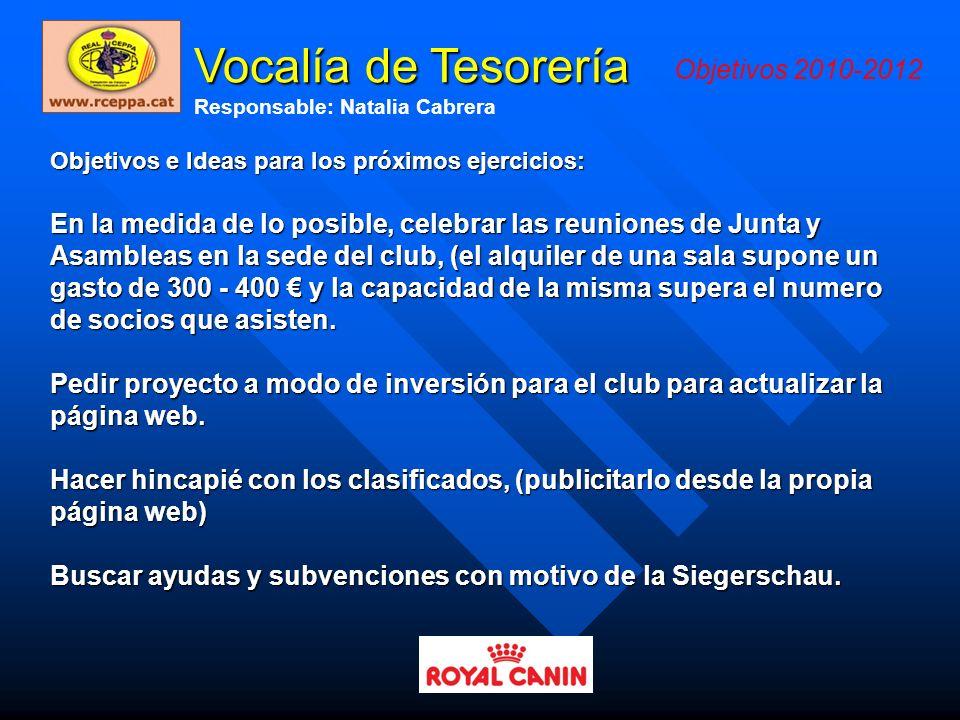 Vocalía de Tesorería Objetivos 2010-2012