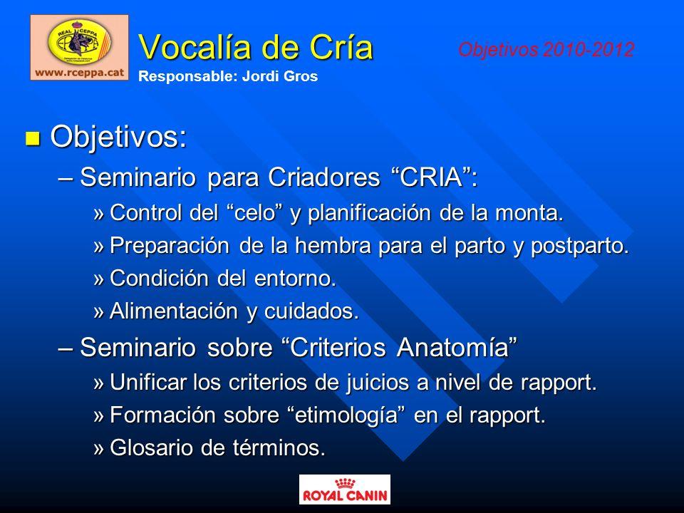 Vocalía de Cría Objetivos: Seminario para Criadores CRIA :