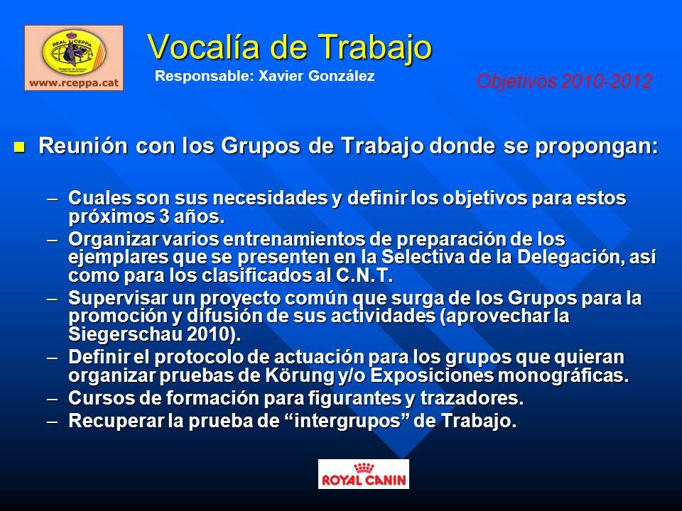 Vocalía de Trabajo Responsable: Xavier González. Objetivos 2010-2012. Reunión con los Grupos de Trabajo donde se propongan:
