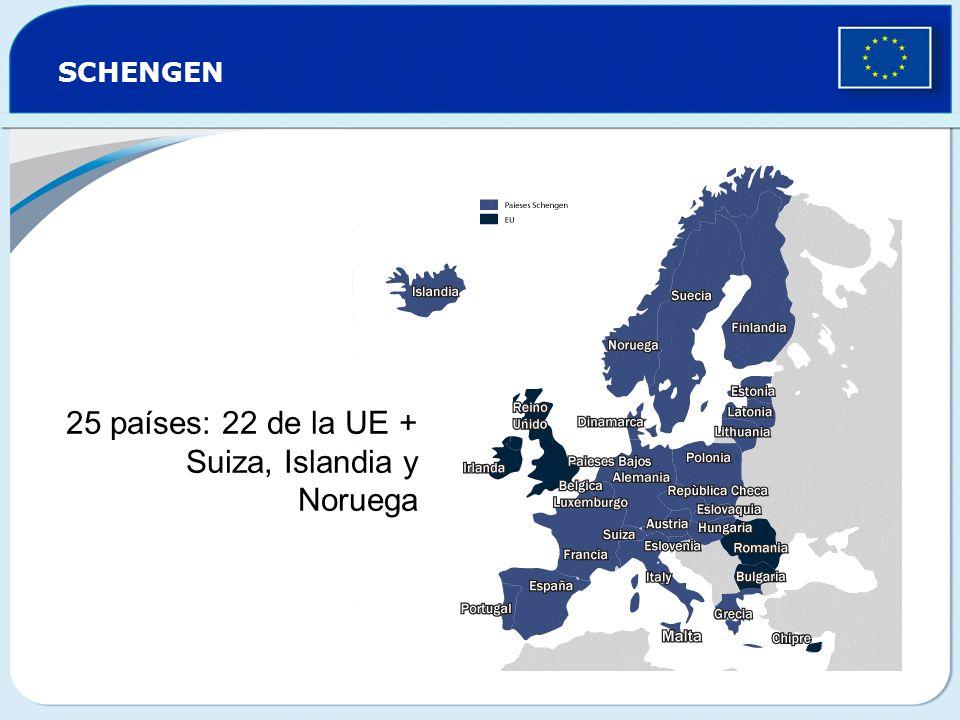 25 países: 22 de la UE + Suiza, Islandia y Noruega