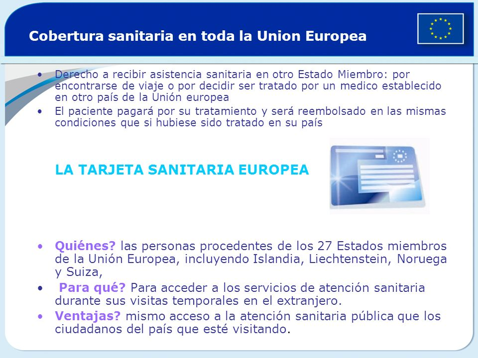 Cobertura sanitaria en toda la Union Europea