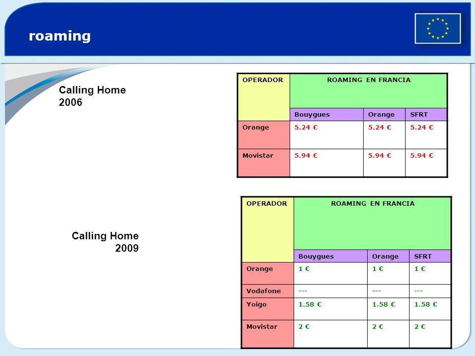 roaming Calling Home 2006 Calling Home 2009 OPERADOR