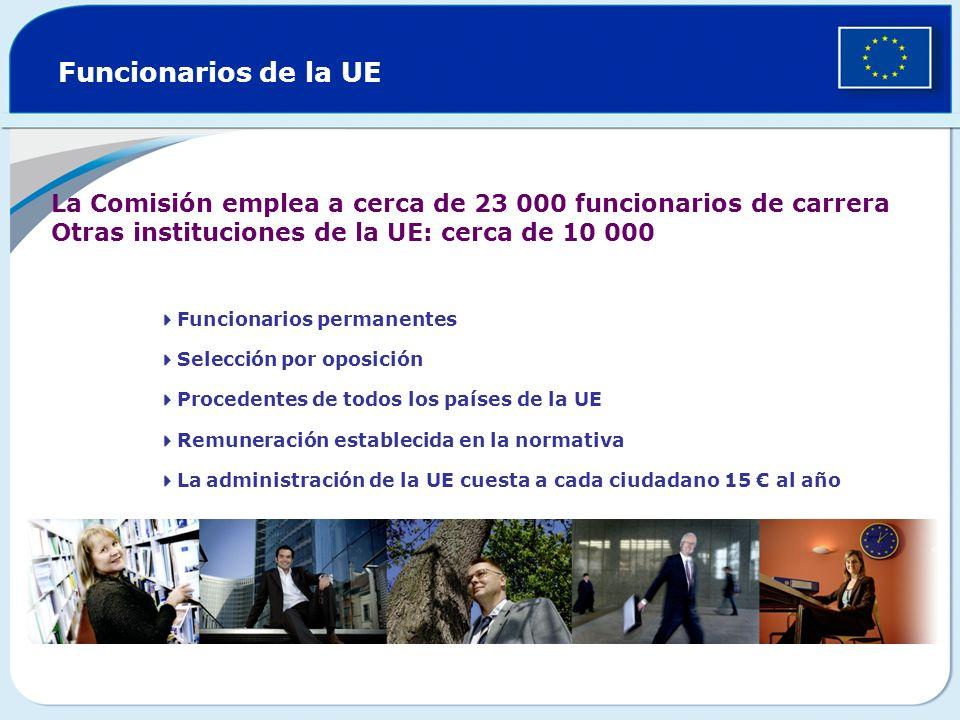 Funcionarios de la UE La Comisión emplea a cerca de 23 000 funcionarios de carrera. Otras instituciones de la UE: cerca de 10 000.