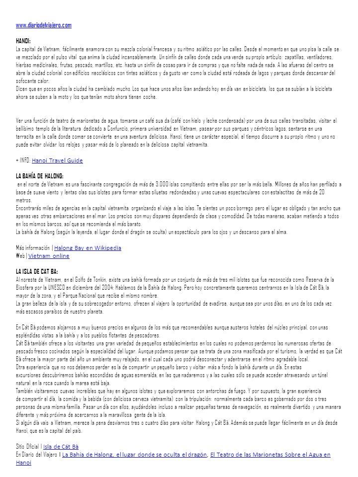 www.diariodelviajero.com HANOI: