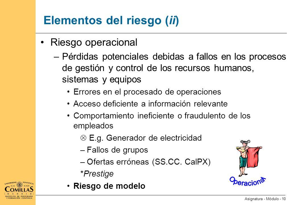 Elementos del riesgo (iii)