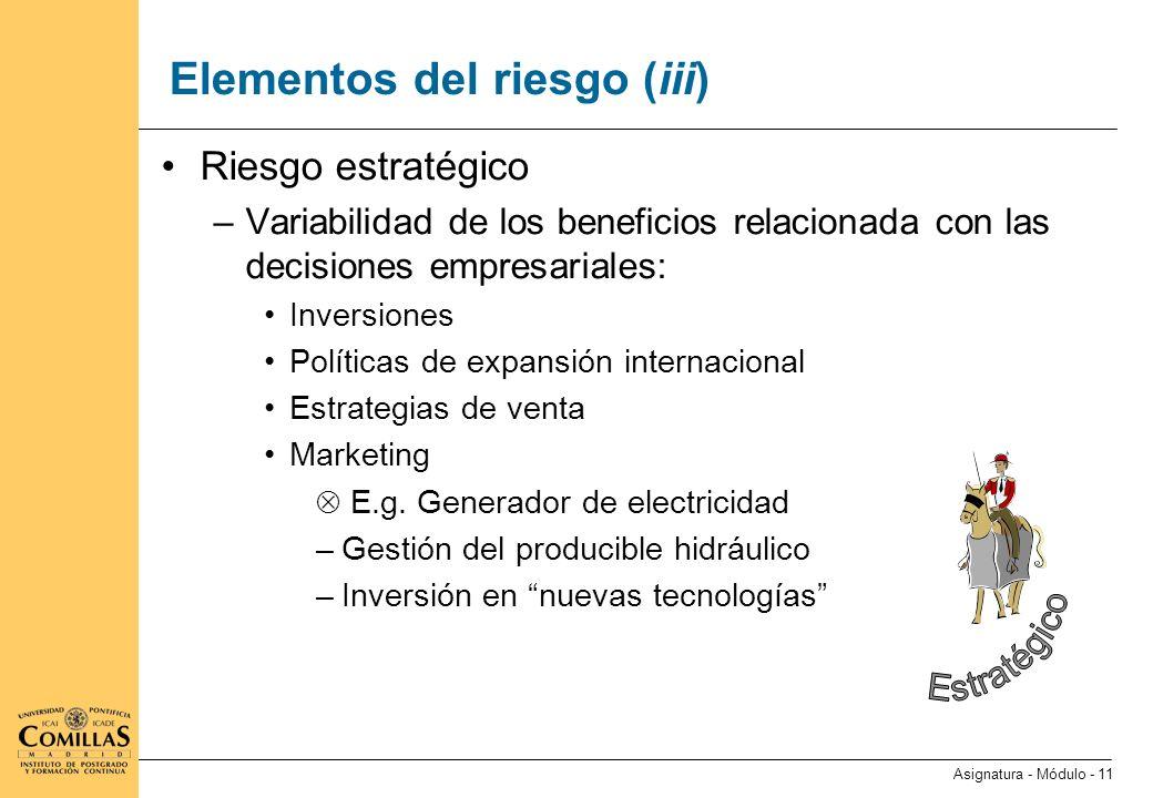 Elementos del riesgo (iv)